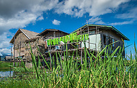 Typical house built on stilts in Inle Lake, Myanmar