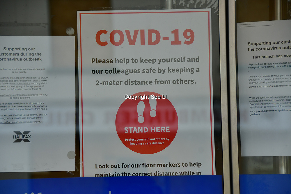 During the coronavirus in UK lockdown Halifax with a sign written (Covid-19) on 28 March 2020, at Walthamstow Market, London.