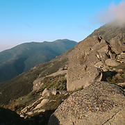 Dawn breaks over the Presidential Range in the White Mountain National Forest. Mt. Washington is in the background