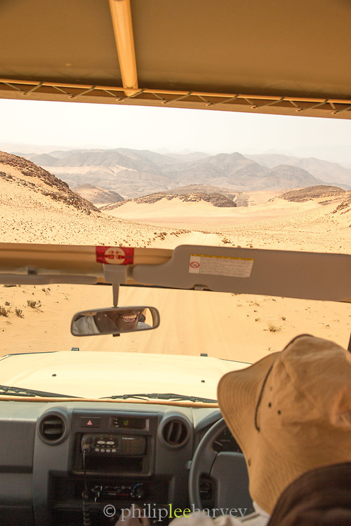 View from 4 Wheel drive out to desert, Hartmanns Valley, Northern Namibia, Southern Africa