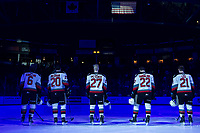 KELOWNA, BC - FEBRUARY 28:  Kaedan Korczak #6,  Matthew Wedman #20,  Jonas Peterek #27,  Dillon Hamaliuk #22 and Jake Lee #21 of the Kelowna Rockets stand on the ice for the American national anthem at the start of the game against the Everett Silvertips at Prospera Place on February 28, 2020 in Kelowna, Canada. (Photo by Marissa Baecker/Shoot the Breeze)