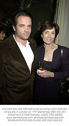 The HON.WILLIAM ARCHER and his mother LADY ARCHER, at a party in London on 17th September 2001.OSJ 261