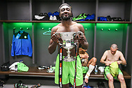 Forest Green Rovers Manny Monthe(3) with the trophy during the Vanarama National League Play Off Final match between Tranmere Rovers and Forest Green Rovers at Wembley Stadium, London, England on 14 May 2017. Photo by Shane Healey.