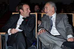French Economy Minister Emmanuel Macron and Jacques Attali attend the 7th International microentrepreneurship Awards of Foundation Planet Finance, in Paris, France on December 1, 2014. Photo by Thierry Orban/ABACAPRESS.COM
