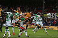 Padraig Amond of Newport county © heads and  scores his teams 1st goal. EFL Skybet football league two match, Newport county v Yeovil Town at Rodney Parade in Newport, South Wales on Saturday 7th October 2017.<br /> pic by Andrew Orchard,  Andrew Orchard sports photography.