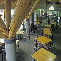 Skiers relax in the White Salmon Lodge at Washington's Mount Baker Ski Area.