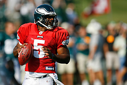 Philadelphia Eagles quarterback Donovan McNabb #5 during the Philadelphia Eagles NFL training camp in Bethlehem, Pennsylvania at Lehigh University on Saturday August 8th 2009. (Photo by Brian Garfinkel)