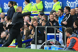 1st October 2017 - Premier League - Everton v Burnley - Everton manager Ronald Koeman (L) directs his frustration towards Fourth Official Christopher Kavanagh (R) - Photo: Simon Stacpoole / Offside.
