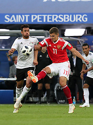 June 19, 2018 - St. Petersburg, Russia - 19 June 2018, Russia, St. Petersburg, FIFA World Cup 2018, First Round, Group A, First Matchday, Russia v Egypt. Player of the national team Roman Zobnin  (Credit Image: © Russian Look via ZUMA Wire)
