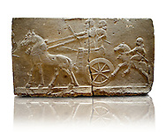Sculpted Assyrian relief panels of Royal Chariot & Guards  from Hadatu ( Aslantas ) around 800 B.C. Istanbul Archaeological museum Inv No. 1946 .<br /> <br /> If you prefer to buy from our ALAMY PHOTO LIBRARY  Collection visit : https://www.alamy.com/portfolio/paul-williams-funkystock/ancient-assyria-antiquities.html  Type -    Istanbul    - into the LOWER SEARCH WITHIN GALLERY box to refine search by adding background colour, place, museum etc<br /> <br /> Visit our ANCIENT WORLD PHOTO COLLECTIONS for more photos to download or buy as wall art prints https://funkystock.photoshelter.com/gallery-collection/Ancient-World-Art-Antiquities-Historic-Sites-Pictures-Images-of/C00006u26yqSkDOM