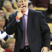 Louisville Head Coach Bob Marlin yells during their game at the UCF Arena on December 15, 2010 in Orlando, Florida. UCF won the game79-58. (AP Photo/Alex Menendez)