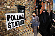Muslim woman wearing a Burkha after voting at a Polling Station in Whitechapel, in the East End of London. General Election Day May 6th 2010.