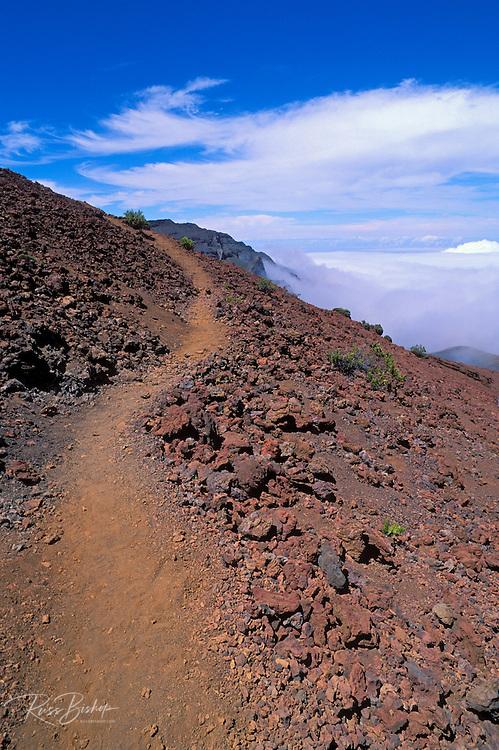 Trail through lava field above a sea of clouds in Haleakala Crater, Haleakala National Park, Island of Maui, Hawaii