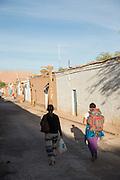 Tourists in San Perdo de Atacama Street, Atacama Desert. Chile, South America