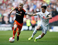 Mark Duffy of Sheffield Utd in action with George Williams of MK Dons during the English League One match at  Stadium MK, Milton Keynes. Picture date: April 22nd 2017. Pic credit should read: Simon Bellis/Sportimage