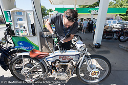 Harley-Davidson Museum Archive Restorer/Conservator Bill Rodencal of Wisconsin gases up his 1915 Harley-Davidson during the Motorcycle Cannonball Race of the Century. Stage-4 from Chillicothe, OH to Bloomington, IN. USA. Tuesday September 13, 2016. Photography ©2016 Michael Lichter.