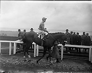 25/06/1958<br /> 06/25/1958<br /> 25 June 1958<br /> Irish Derby at the Curragh Racecourse, Co. Kildare. Horse and jockey before the race.