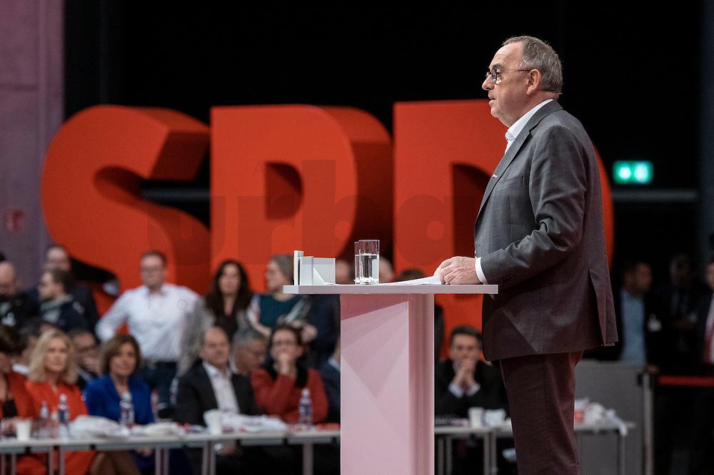 06 DEC 2019, BERLIN/GERMANY:<br /> Norbert Walter-Borjans, SPD, Minister a.D., Kandidat fur das Amt des Parteivorsitzenden, waehrend seiner Bewerbungsrede, SPD Bundesprateitag, CityCube<br /> IMAGE: 20191206-01-036<br /> KEYYWORDS: Party Congress, Parteitag