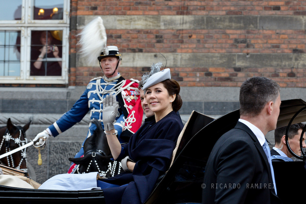 16.04.2015. Copenhagen, Denmark.<br /> Crown Prince Frederik and Crown Princess Mary arrive to the Town Hall during festivities for the 75th birthday of Queen Margrethe II of Denmark.<br /> Photo:© Ricardo Ramirez