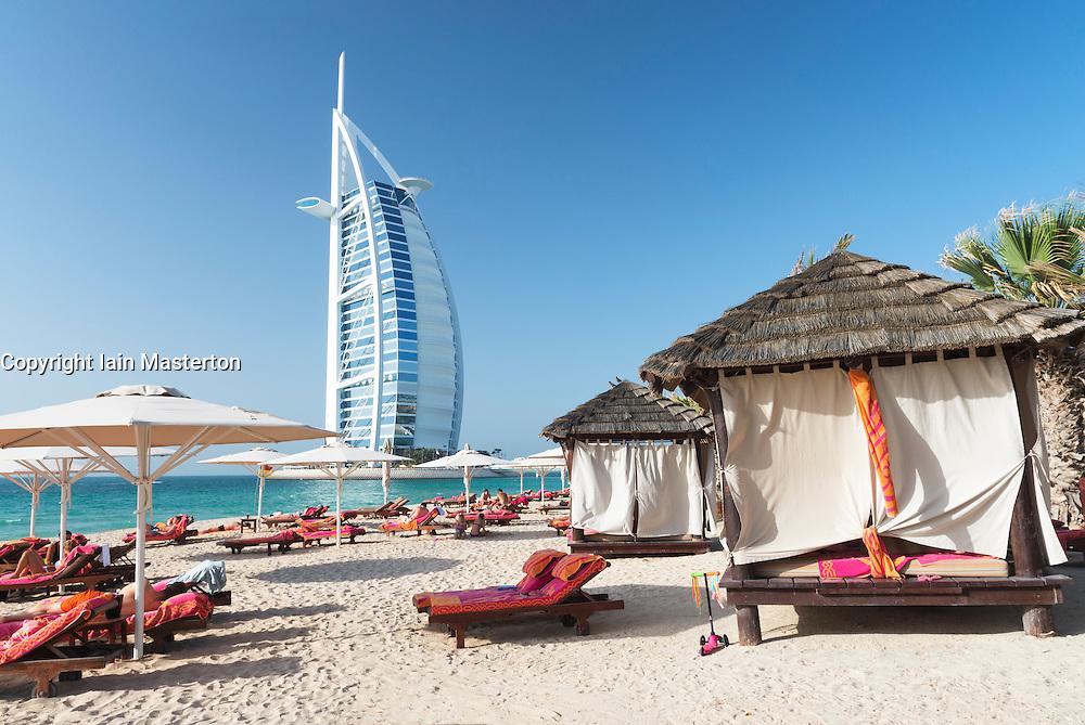 Beach resort beside Burj Al Arab luxury hotel in Dubai United Arab Emirates