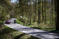 Doris Schweizer (SUI) still solo at La Flèche Wallonne Femmes 2018, a 118.5 km road race starting and finishing in Huy on April 18, 2018. Photo by Sean Robinson/Velofocus.com