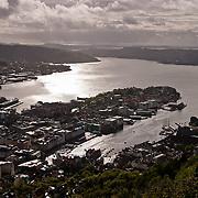 Three weeks aboard the Kong Harald. Hurtigruten, the Coastal Express. Bergen. Bergen from the top of Floybanen, the funicular.
