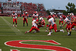 19 September 2009: Tyrone Walker struggles to remain on his feet as he drags Kit Hartsfield to the endzone with him in a game which the Austin Peay Governors were defeated 38-7 by the Illinois State Redbirds at Hancock Stadium on campus of Illinois State University in Normal Illinois