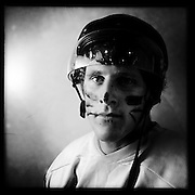 Ice Men Cometh… Connor Harrison, 18, New Zealand..An iPhone portrait series on young men competing in the 2012 IIHF Ice Hockey World Championships Division 3. The tournament  was contested by countries New Zealand, Iceland, China, Bulgaria and Turkey at Dunedin Ice Stadium. Dunedin, Otago, New Zealand. 17th January 2012. Photo Tim Clayton
