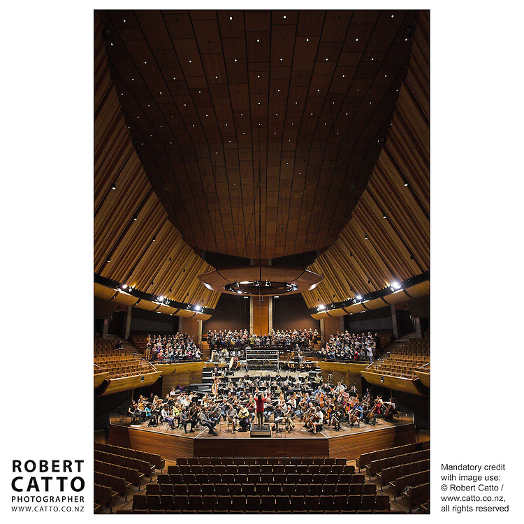 James MacMillan conducts the New Zealand Symphony Orchestra, the Hilliard Ensemble, and the Festival Chorus at the Michael Fowler Centre, Wellington.