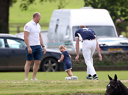Prince William arrives to play at the Gloucestershire Polo Festival at the Beaufort polo club in Gloucestershire.<br /> <br /> When he arrived he chased Zara Tindall's daughter Mia who ran away from him.<br /><br />11 June 2017.<br /><br />Please byline: Vantagenews.com<br /><br />UK clients should be aware children's faces may need pixelating.