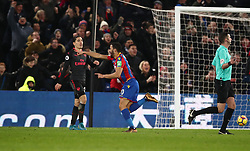 Crystal Palace's Andros Townsend (centre) celebrates scoring his side's first goal of the game during the Premier League match at Selhurst Park, London.