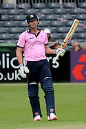 Nick Compton celebrates hitting 50 runs during the NatWest T20 Blast South Group match between Gloucestershire County Cricket Club and Middlesex County Cricket Club at the Bristol County Ground, Bristol, United Kingdom on 15 May 2015. Photo by Alan Franklin.