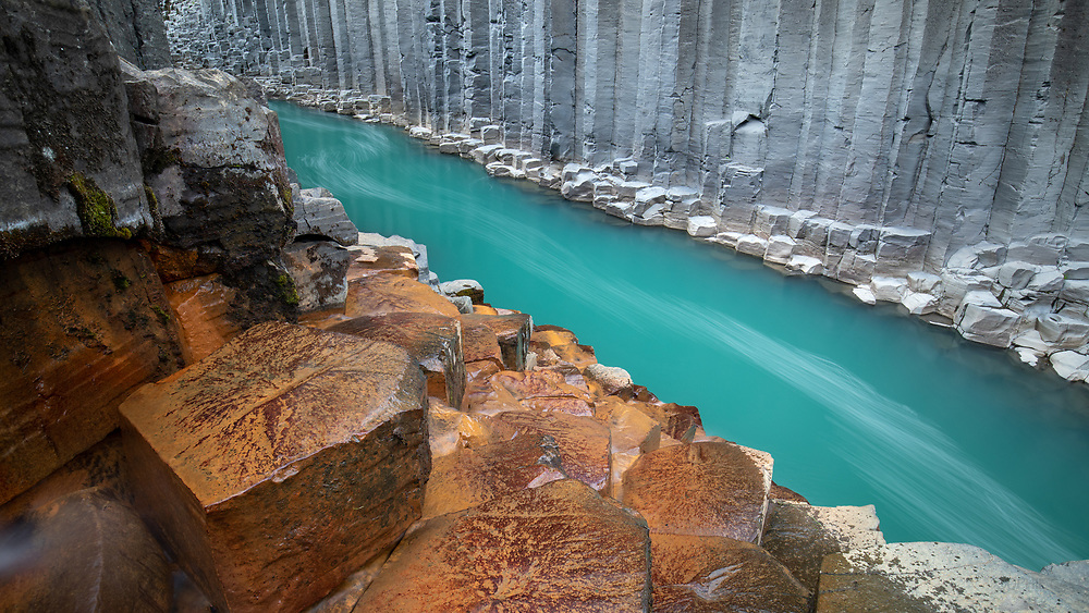 Amazing colours in the basalt columnar Stuðlagil canyon