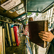 Books for sale on the border of the Seine in Paris.