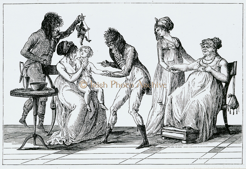 Inoculation a la mode: After a French cartoon of 1797 This cartoon  appeared a year before Jenner puplished his findings and it is likely that smallpox rather than cowpox serum was used.