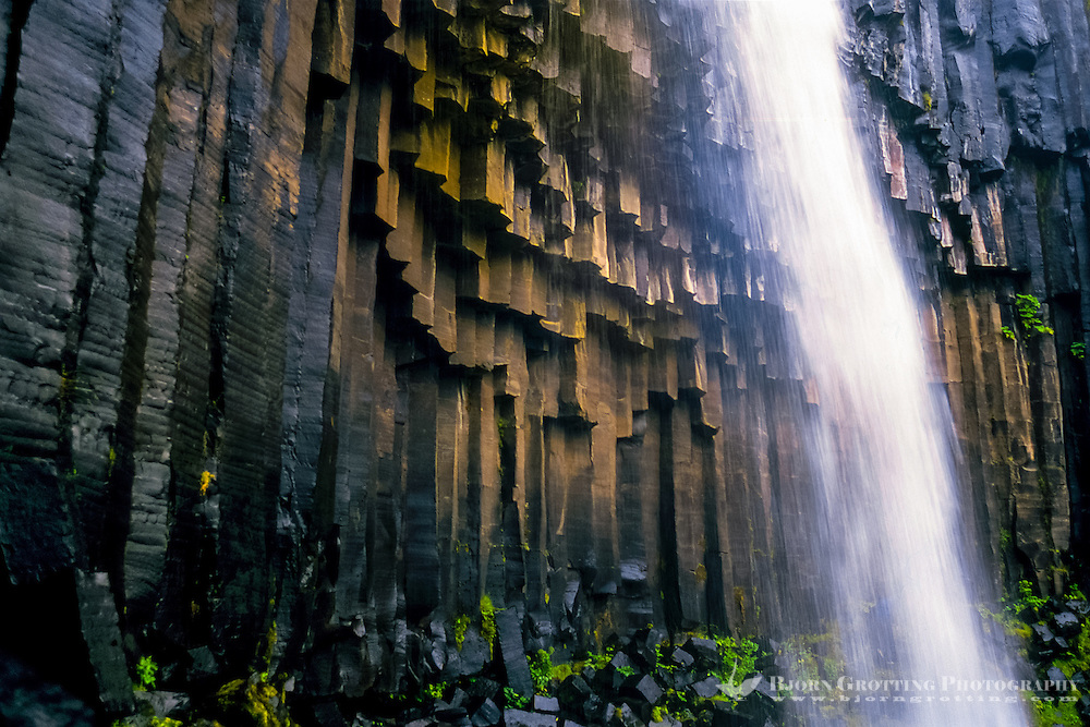 Iceland. Svartifoss waterfall in Skaftafell, part of Vatnajökull National Park. Basalt columns.