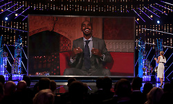Mo Farah is interviewed via video link during the BBC Sports Personality of the Year 2017 at the Liverpool Echo Arena.
