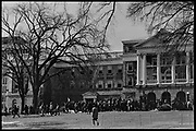Madison, WI - March 1970. On March 15, 1970, the University of Wisconsin - Madison Teaching Assistants' Association voted to strike, and the campus was filled with picket lines as well as demonstrations of related and other issues. The strike lasted until early April, when the Association and University came to an agreement. Protesters in front of Bascom Hall.