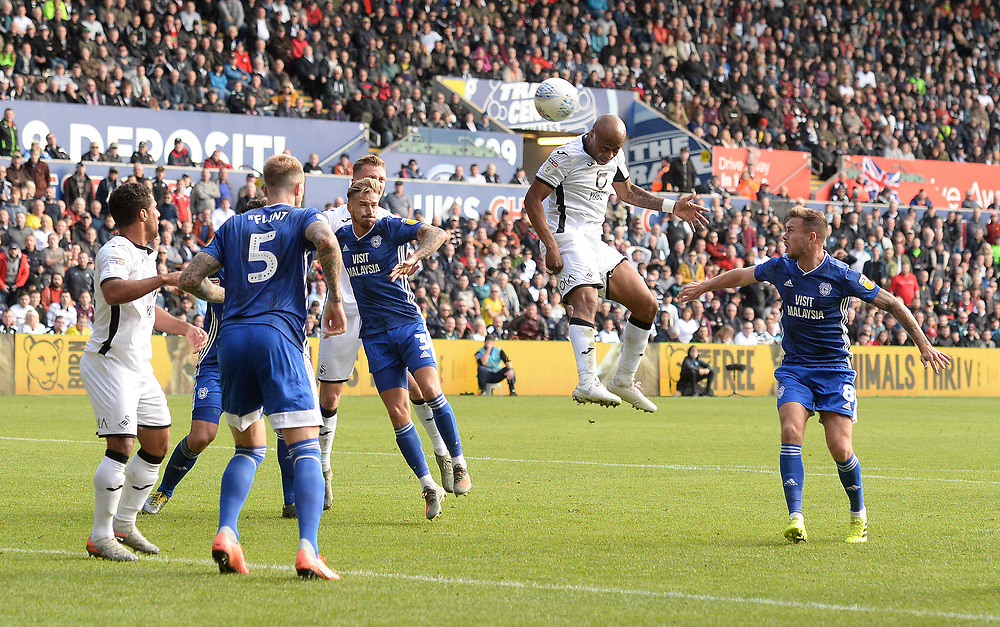 Swansea City?s Andre Ayew heads towards goal <br /> <br /> Photographer Ian Cook/CameraSport<br /> <br /> The EFL Sky Bet Championship - Swansea City v Cardiff City - Sunday 27th October 2019 - Liberty Stadium - Swansea<br /> <br /> World Copyright © 2019 CameraSport. All rights reserved. 43 Linden Ave. Countesthorpe. Leicester. England. LE8 5PG - Tel: +44 (0) 116 277 4147 - admin@camerasport.com - www.camerasport.com