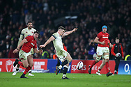 Owen Farrell of England kicks the ball out of play to end the match.  England v Wales, NatWest 6 nations 2018 championship match at Twickenham Stadium in Middlesex, England on Saturday 10th February 2018.<br /> pic by Andrew Orchard, Andrew Orchard sports photography