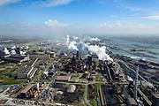 Nederland, Noord-Holland, IJmuiden , 09-04-2014; IJmuiden Steel Works van Tata Steel. Overzicht met vlnr oxystaalfabriek, hoogovens, cokesfabriek, Noordzeekanaal.<br /> IJmuiden Steel Works, part of Tata Steel. <br /> luchtfoto (toeslag op standard tarieven);<br /> aerial photo (additional fee required);<br /> copyright foto/photo Siebe Swart