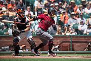 Arizona Diamondbacks center fielder Gregor Blanco (5) bats against the San Francisco Giants at AT&T Park in San Francisco, California, on August 6, 2017. (Stan Olszewski/Special to S.F. Examiner)