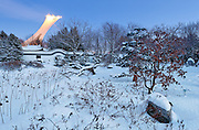 Snowy winter evening at the botanical garden and olympic stadium, montreal, quebec, canada