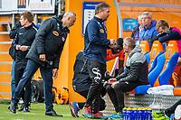 1. divisjon fotball 2018: Aalesund - Mjøndalen. Aalesunds trener Lars Bohinen gir Pape Gueye instrukser før innbyttet i førstedivisjonskampen i fotball mellom Aalesund og Mjøndalen på Color Line Stadion.
