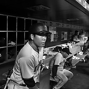 Jung Ho Kang, Pittsburgh Pirates, in the dugout preparing to bat during the New York Mets Vs Pittsburgh Pirates MLB regular season baseball game at Citi Field, Queens, New York. USA. 15th August 2015. Photo Tim Clayton
