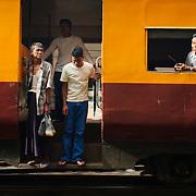 Train arriving at Yangon train station