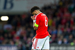 CARDIFF, WALES - Monday, October 9, 2017: Wales' Ashley Williams shows a look of dejection during the 2018 FIFA World Cup Qualifying Group D match between Wales and Republic of Ireland at the Cardiff City Stadium. (Pic by Paul Greenwood/Propaganda)