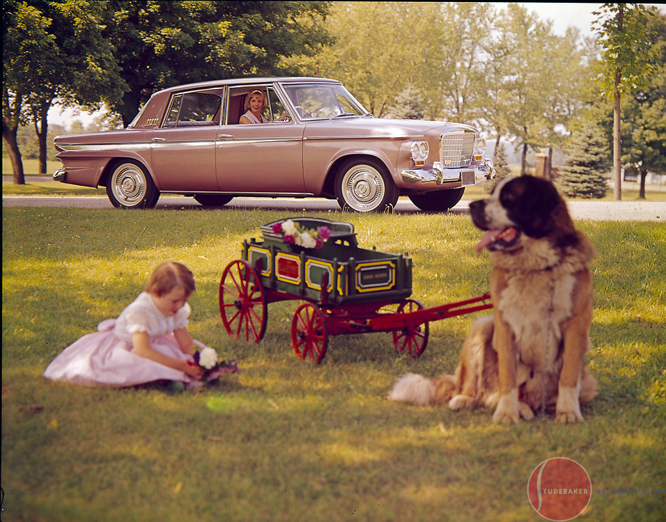 Promotional image for 1963 Studebaker Cruiser with a Studebaker Junior wagon.