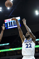 November 14, 2018 - Minneapolis, MN, USA - The Minnesota Timberwolves' Andrew Wiggins (22) hits a 3-point basket in the first half against the New Orleans Pelicans on Wednesday, Nov. 14, 2018, at Target Center in Minneapolis. (Credit Image: © Aaron Lavinsky/Minneapolis Star Tribune/TNS via ZUMA Wire)