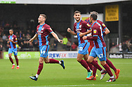 Scunthorpe United midfielder Ryan Colclough (49)  celebrates scoring goal to go 2-0  during the EFL Sky Bet League 1 match between Scunthorpe United and Rochdale at Glanford Park, Scunthorpe, England on 8 September 2018. Photo Ian Lyall